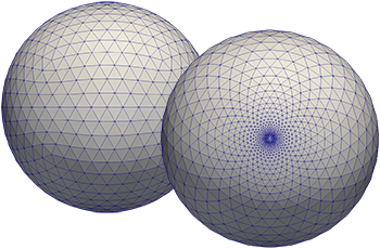 On the left-hand the uniform ICON grid is shown; on the right-hand the triangular grid with a non-uniform resolution. © MPI-M 2019, L. Linardakis
