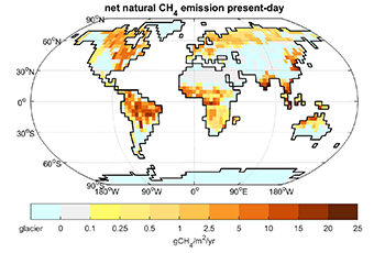 Natural net emissions of methane in the present-day climate. Credit: Thomas Kleinen
